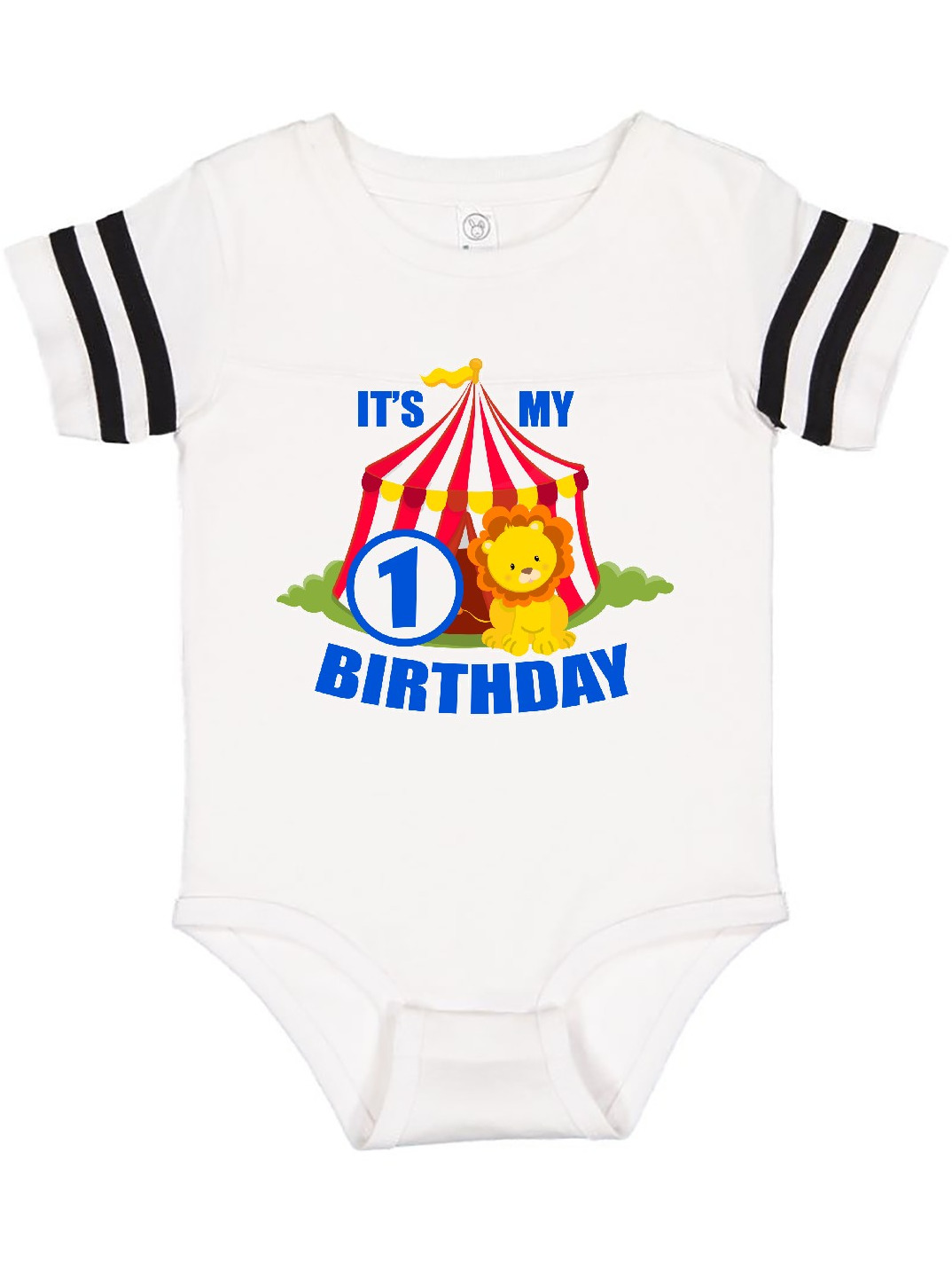 inktastic Its My Birthday Circus Tent with Lion 3 Years Old Long Sleeve Creeper
