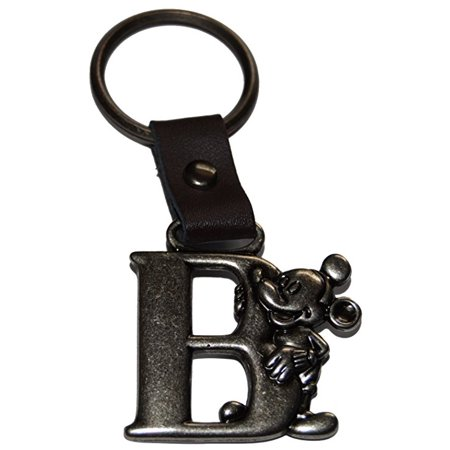 Authentic Disney Mickey Mouse Letter B Pewter Keychain (Key Ring)+ Free Disney Stickers