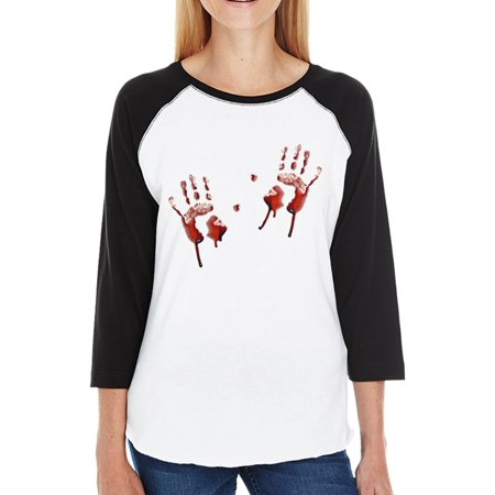 Bloody Handprints Raglan Tee Womens Halloween Horror Night Shirts (Halloween Horror Nights Interactive Map)