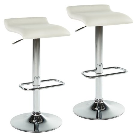 Strange Adjustable Height Faux Leather Backless Bar Stool White Set Of 2 Andrewgaddart Wooden Chair Designs For Living Room Andrewgaddartcom