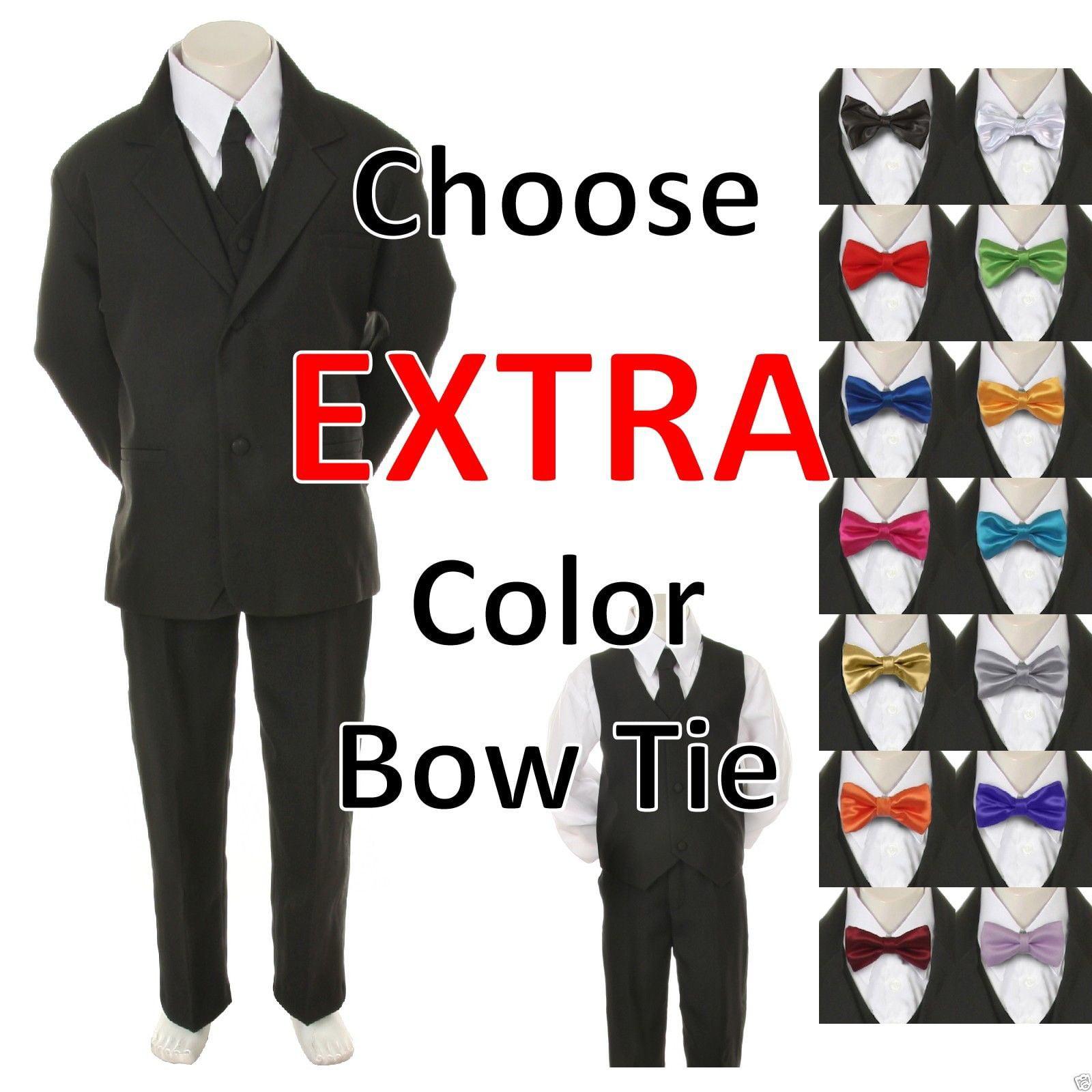 Baby Toddler Kid Formal Wedding 6pc Tuxedo Black Boy Suit Tie 14 Color sz S-20