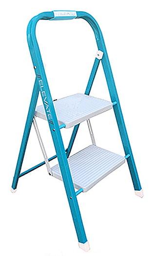 Kent Elevate 2 Step Folding Stool Light Blue White