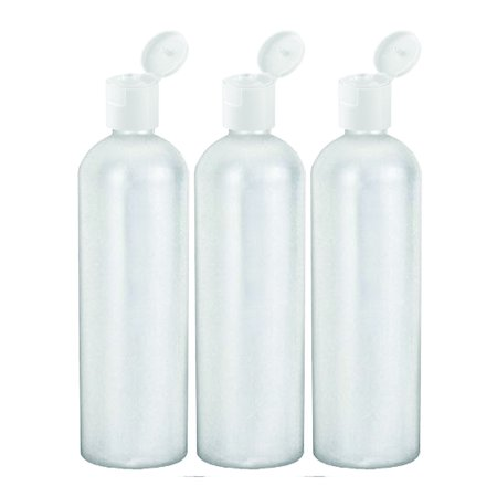 MoYo Natural Labs 16 oz Travel Containers, Empty Shampoo Bottles with Flip Caps, BPA Free HDPE Plastic Squeezable Toiletry/Cosmetics Bottle (Pack of 3, HDPE Translucent White)