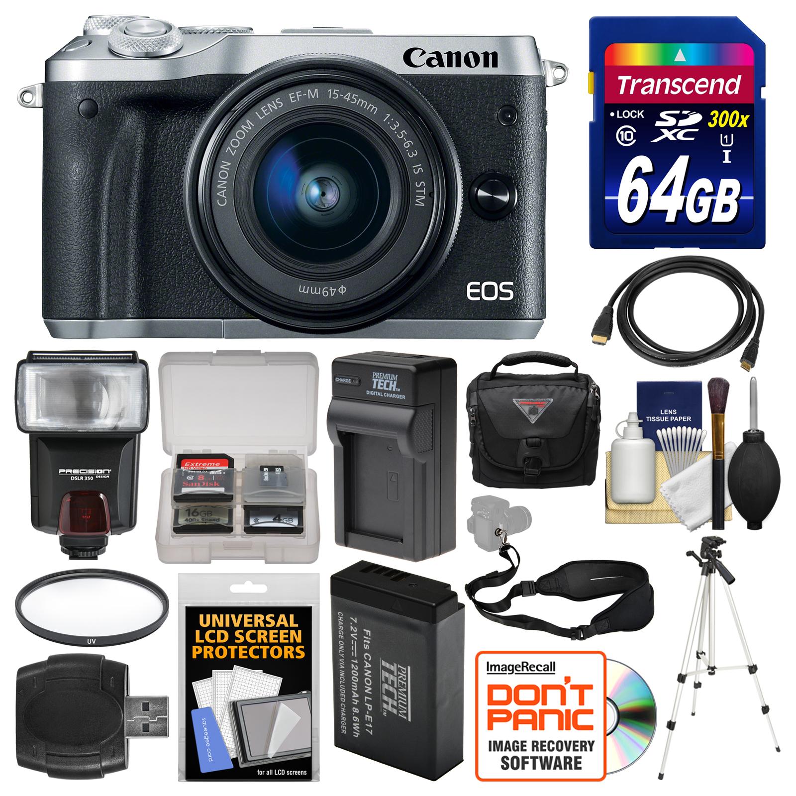 Canon EOS M6 Wi-Fi Digital ILC Camera & EF-M 15-45mm IS S...