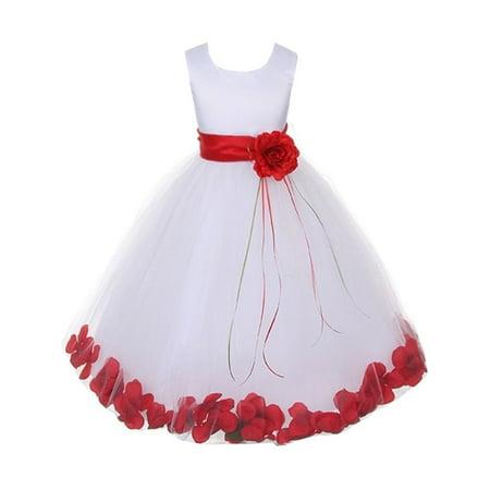 Kids Dream Baby Girls White Satin Red Petal Flower Girl Dress 18M