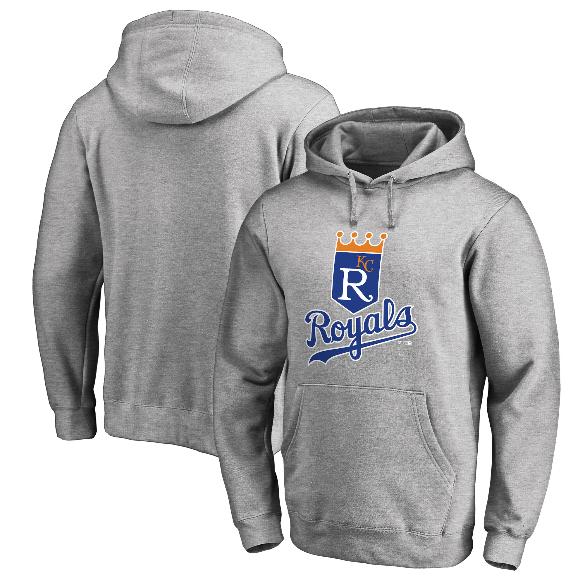 Kansas City Royals Fanatics Branded Cooperstown Collection Huntington Big & Tall Pullover Hoodie - Heathered Gray
