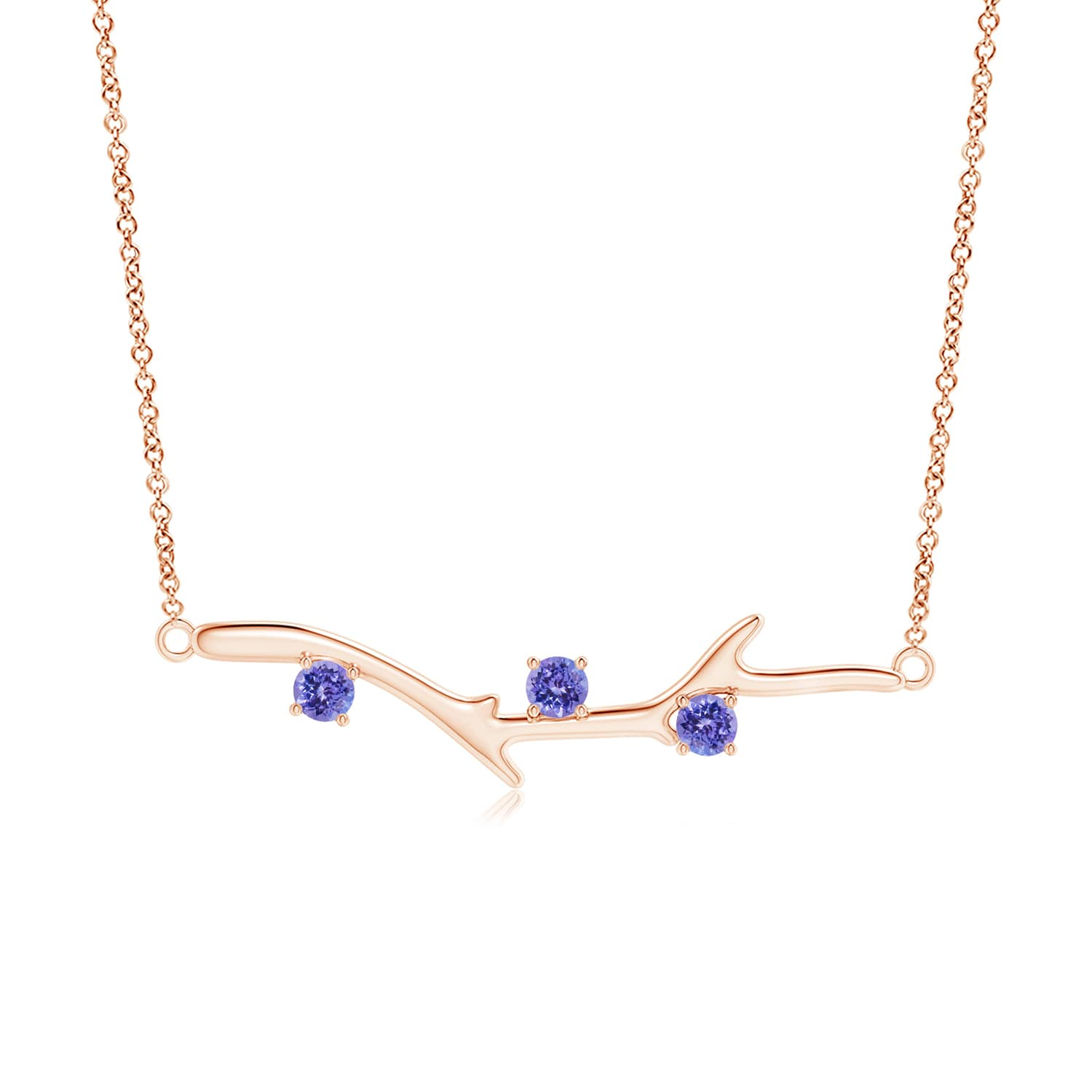 December Birthstone Pendant Necklaces 0.3 carat Round Brilliant Prongs Set Tanzanite Pendant Necklace in 14K Rose Gold... by Angara.com