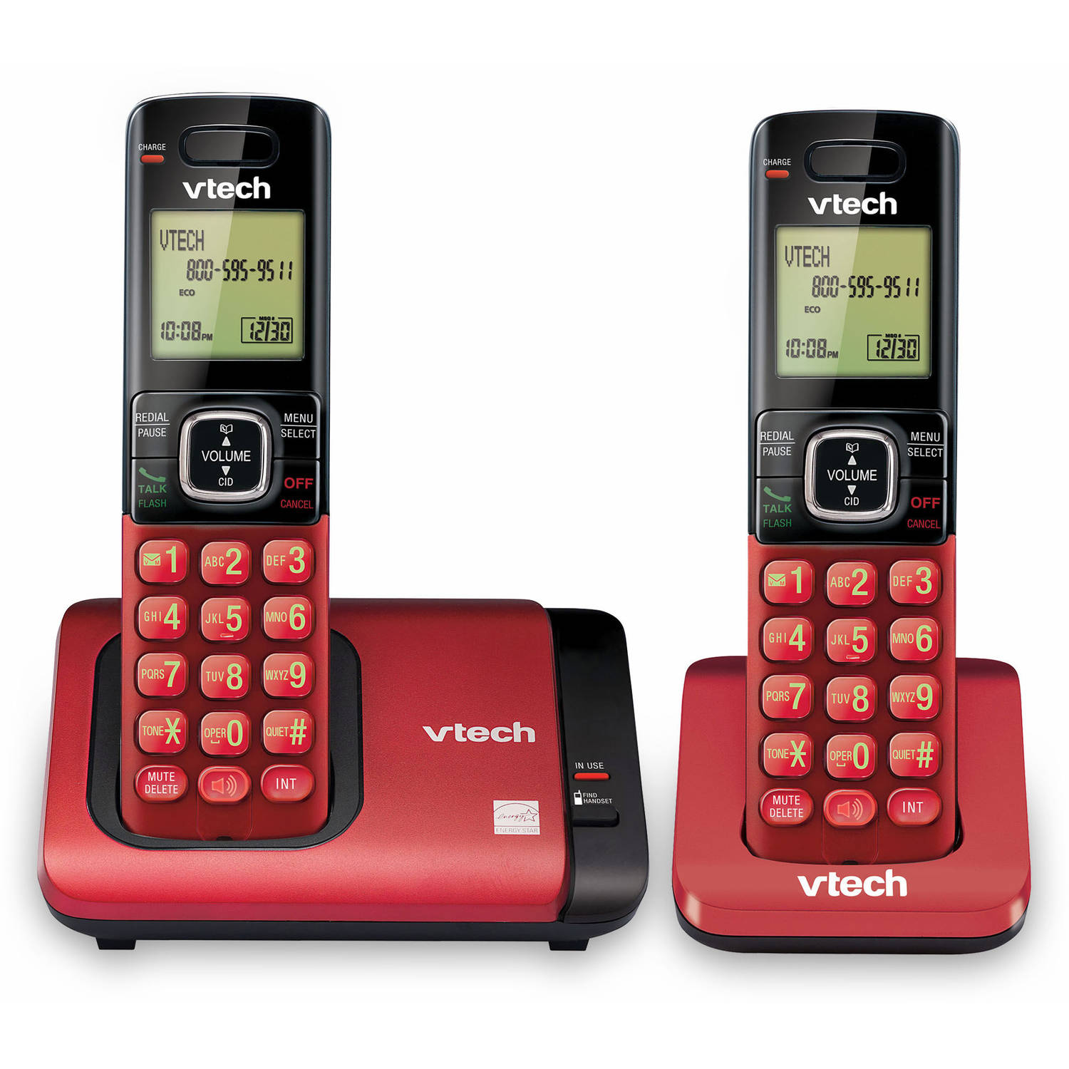 VTech CS6719-26 DECT 6.0 Handset Cordless Phone System with Caller ID/Call Waiting and 2 Handsets, Red/Black