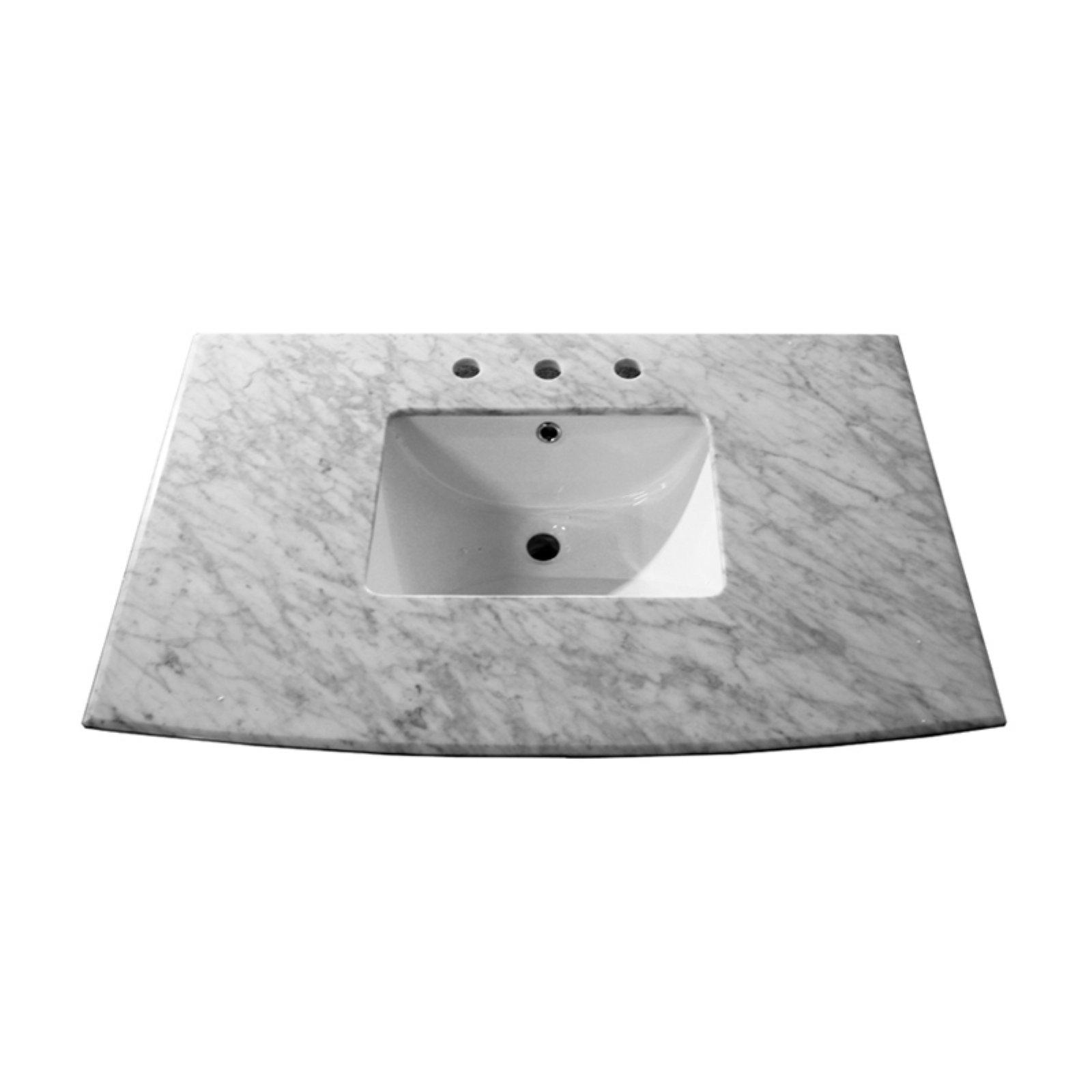 Bellaterra Home 36w X 228d In Carrara Marble Vanity Top With Sink