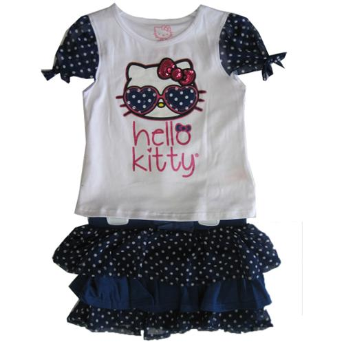 Hello Kitty Little Girls Navy Blue Dotted Glittery Applique 2 Pc Skirt Set 4-6X