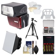 Sunpak PF30X / DigiFlash 2800 iTTL Electronic Flash Unit with Batteries & Charger + Soft Box + Bounce Diffuser + Tripod Kit for Nikon D3200, D3300, D5200, D5300, D7000, D7100, D610, D800, D4s Cameras
