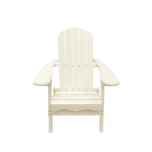 "40"" White Wooden Folding Outdoor Patio Adirondack Chair"
