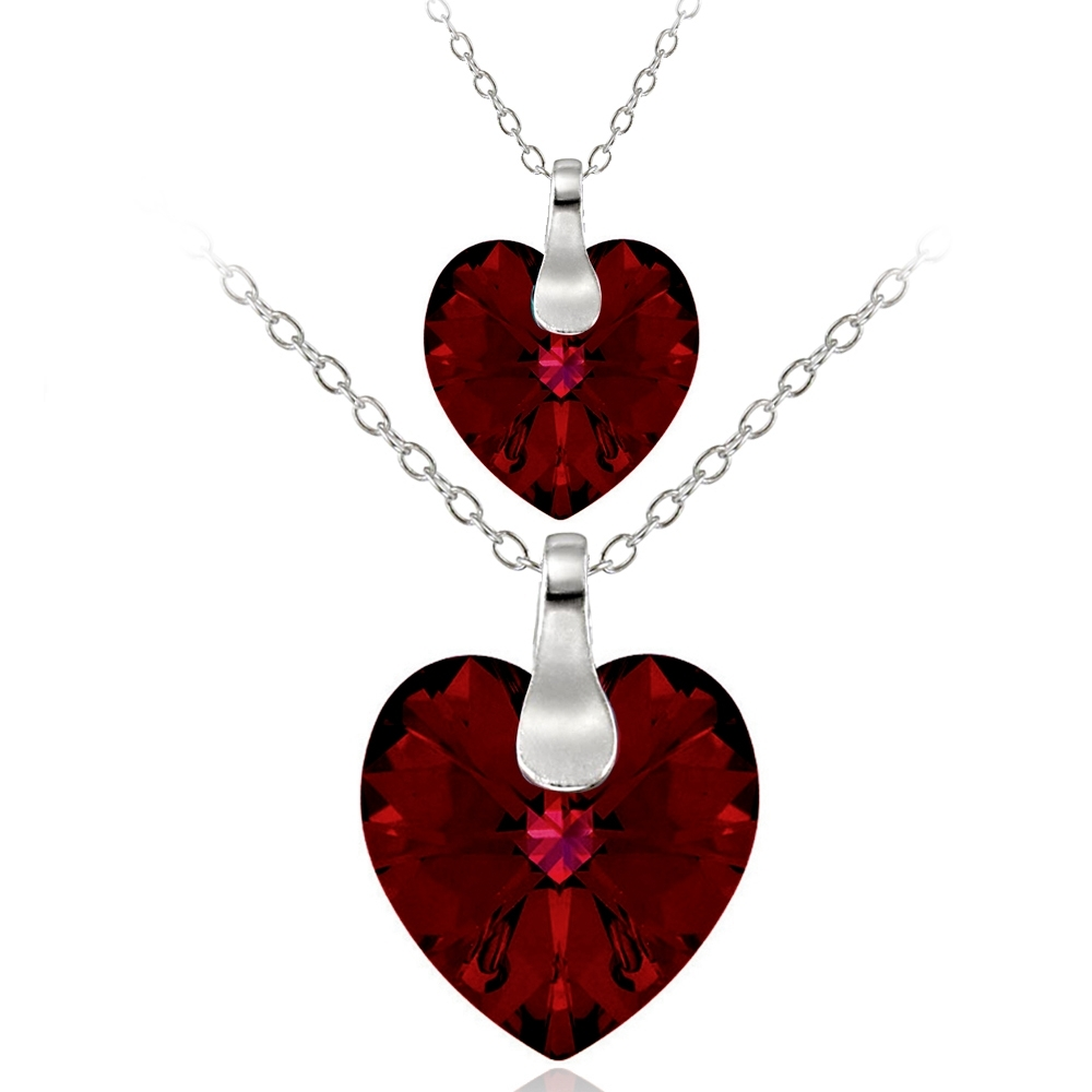 Sterling Ruby Swarovski Elements Mother Daughter Heart Pendant Set