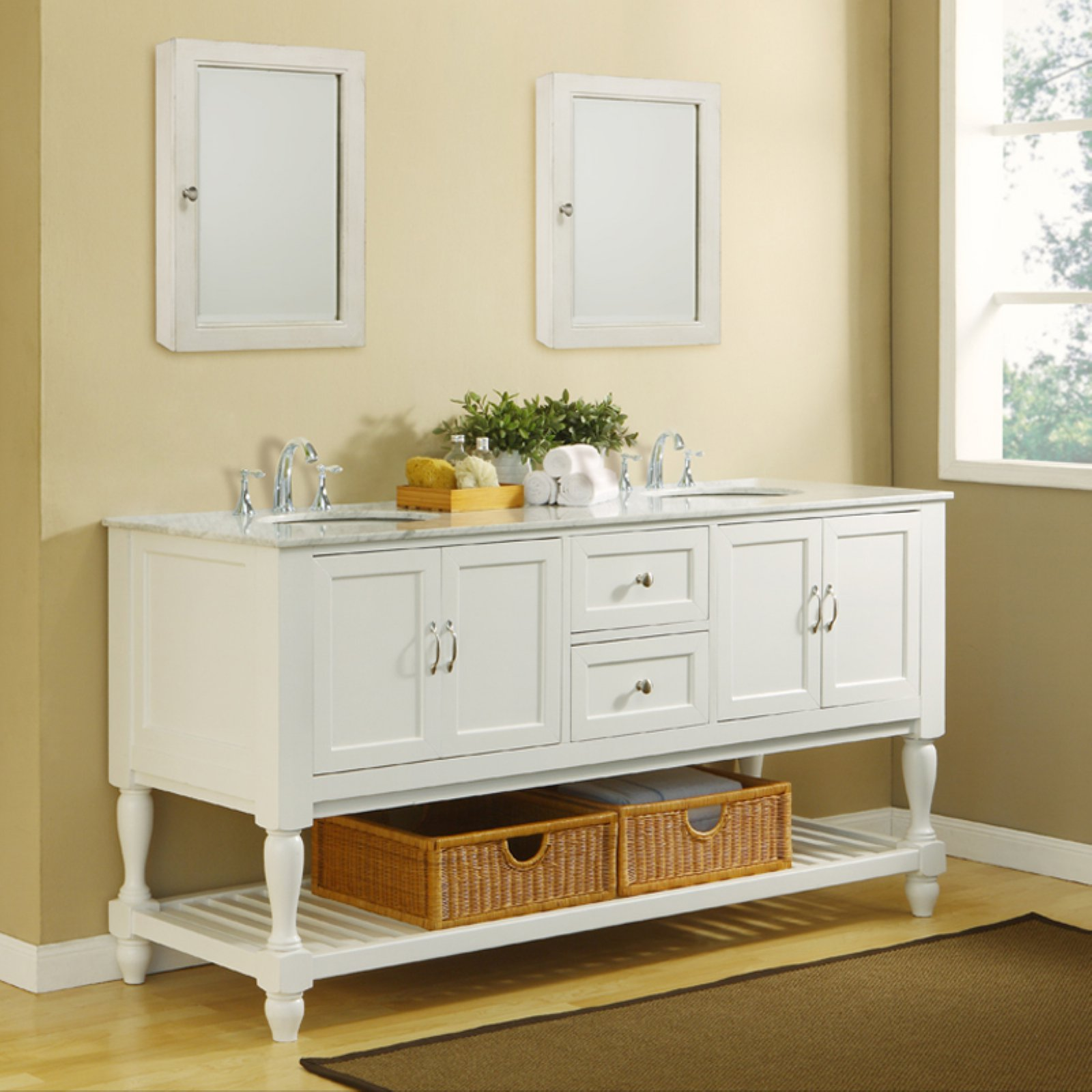 Direct Vanity Sink 6070D10 W Mission Turnleg 70 In. Double Bathroom Vanity
