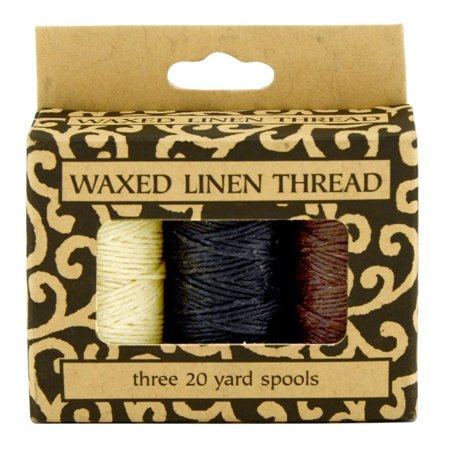 Lineco Thread (Waxed Linen Thread 3Pk Ntrl/Blk/Brwn, 5-ply Genuine Linen thread By Lineco Ship from US)