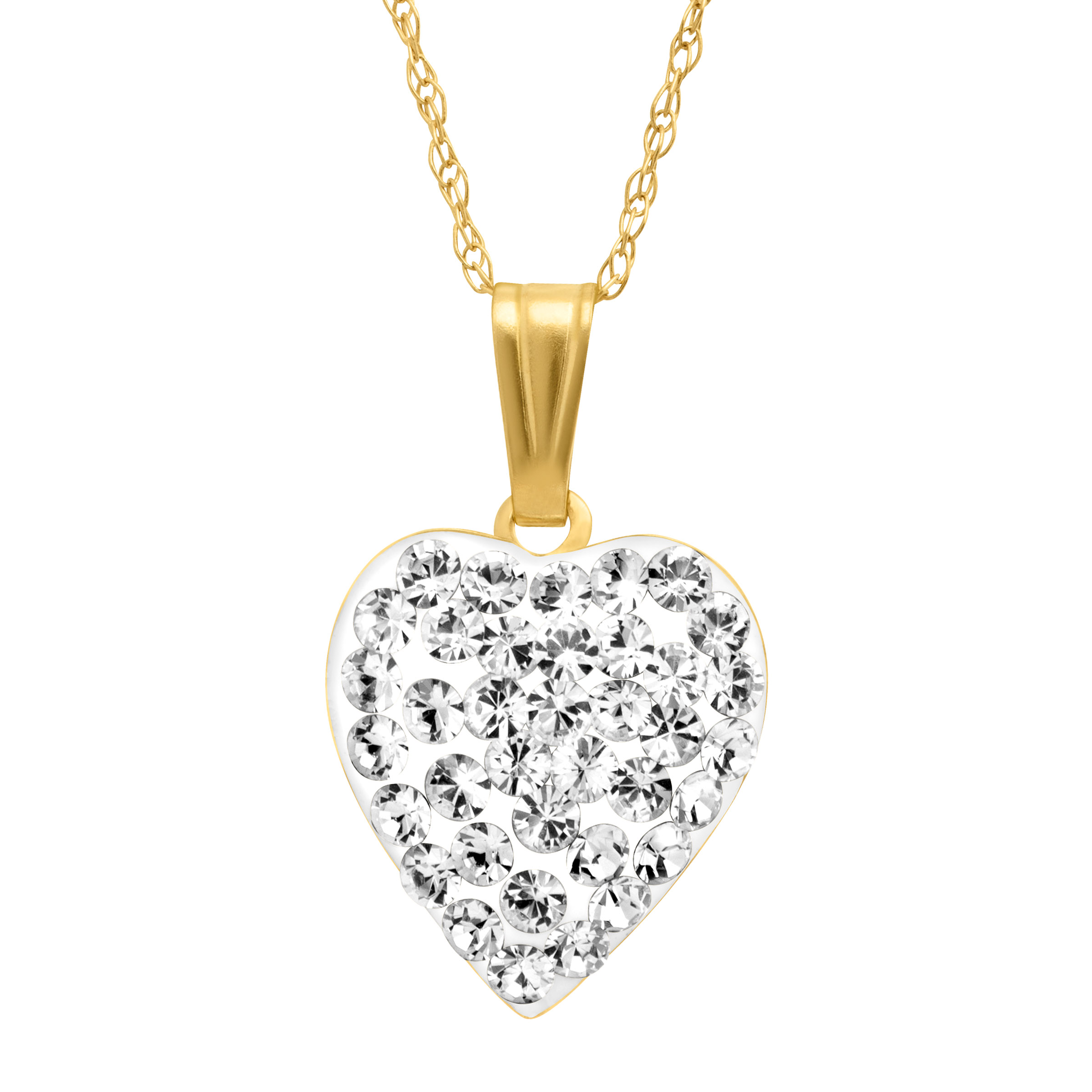 Crystaluxe Puffed Heart Pendant Necklace with Swarovski Crystals in 14kt Gold