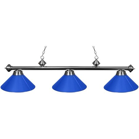 Ozone Brushed Chrome Pool Table Light with Blue - Antique Pool Table Lights