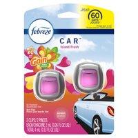Febreze Car Odor-Eliminating Air Freshener Vent Clips, Gain Island Fresh, 2 Ct