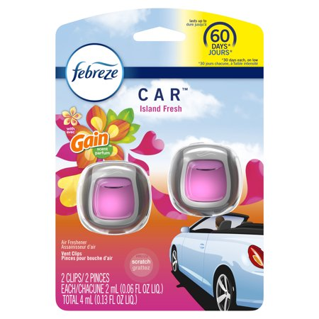 Febreze Car Odor-Eliminating Air Freshener Vent Clips with Gain Scent, Island Fresh, 2 count ()