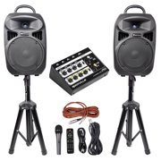 """Rockville RPG082K Dual 8"""" Powered PA System Speakers/Bluetooth+Mic+Stands+Mixer"""