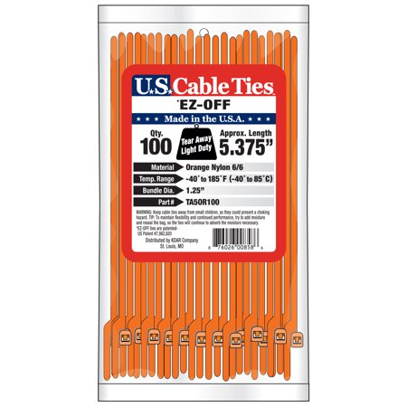 US Cable Ties TA5OR100 5.4 Inch EZ Off Tear Away Ties, Orange, 100 Pack