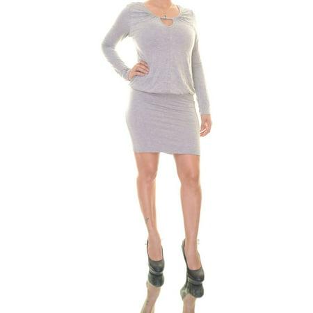 Bar III Women's Long Sleeve Key Hole Neck Gray Dress Size S - Cinco De Mayo Dresses Sale