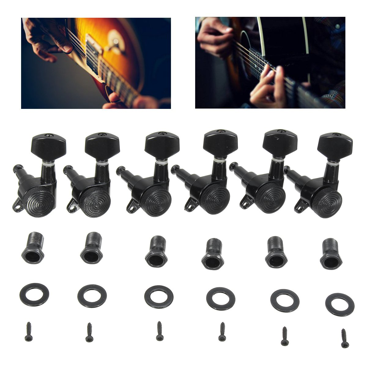 Moaere Sealed Electric Guitar String Tuning Pegs Keys Machine Head Tuners Set Right Hand for Fender Strat Tele Telecaster Guitar