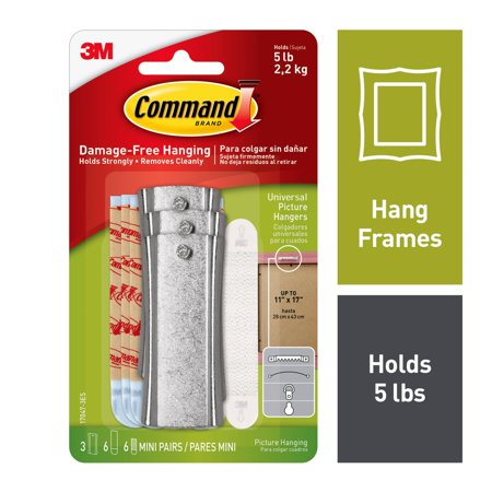 Sawtooth Pockets - Command Sticky Nail Sawtooth Hanger, White, 3 Hangers, 6 Large Strips, 6 Sets of Mini Strips/Pack