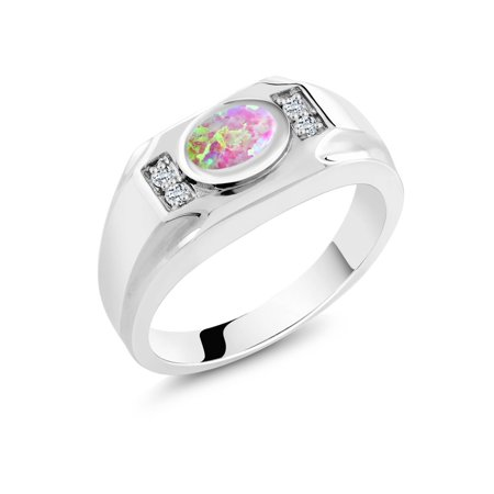 Pink Tourmaline Mens Ring - 1.21 Ct Oval Cabochon Pink Simulated Opal White Topaz 925 Silver Men's Ring