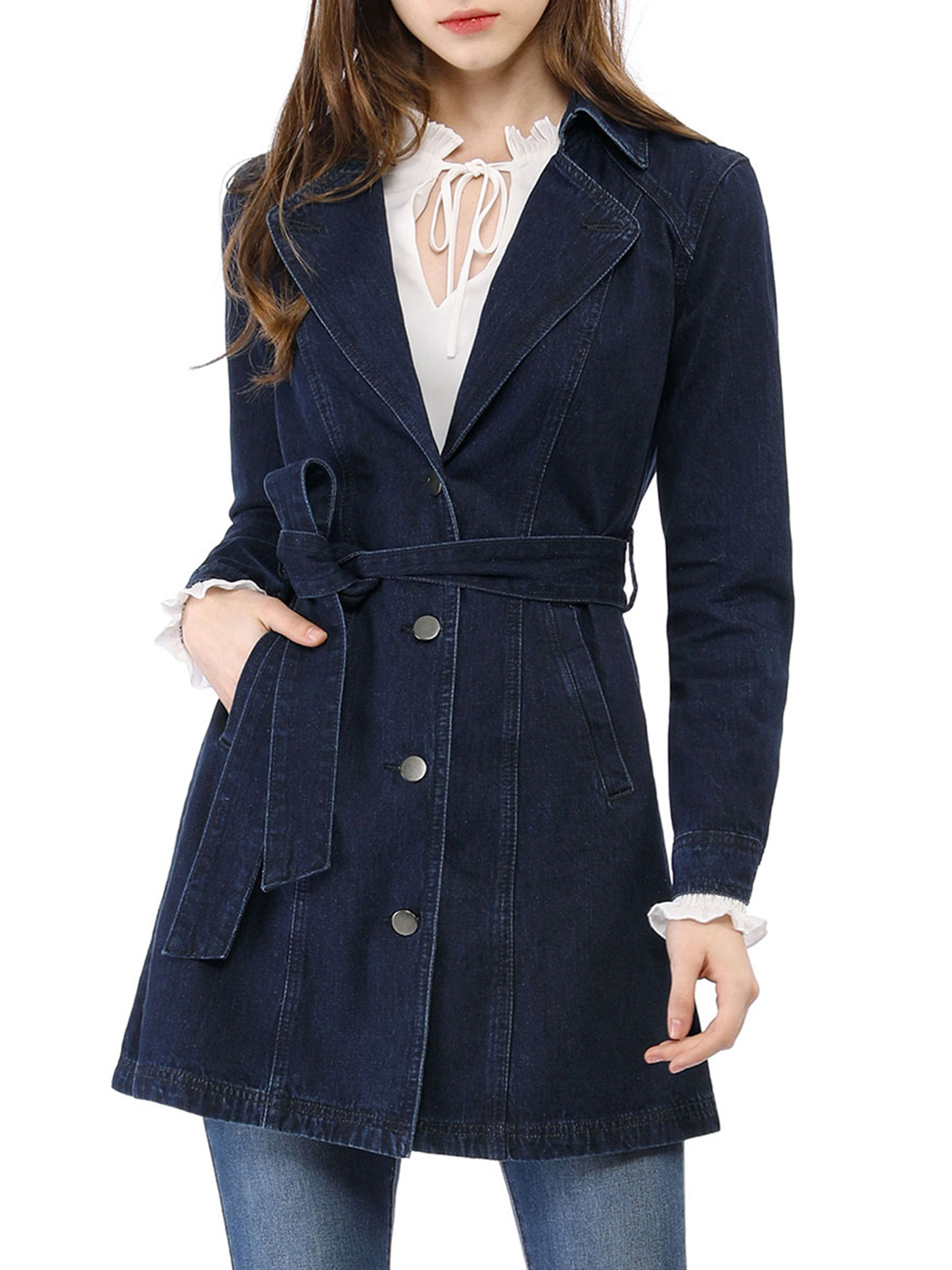 Allegra K Womens Notched Lapel Belted Trench Long Jean Denim Jacket