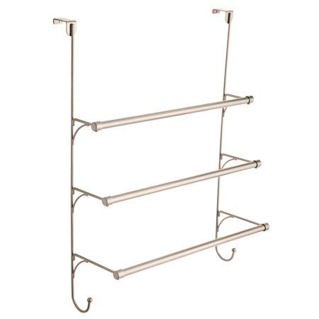 Mainstays Over the Door Towel Rack with Hooks in Polished Chrome (Kitchen Over Door Towel Rack)