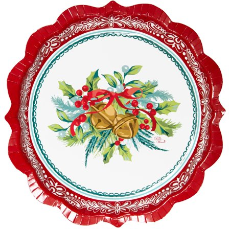 Pioneer Woman Bells & Holly Christmas Paper Plates, 11.5 in, 8ct - Walmart.com