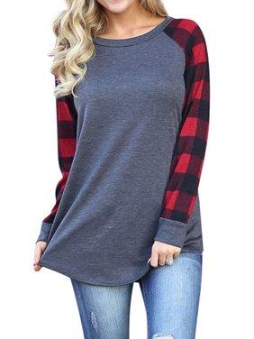 Women Round Neck Long Sleeve Splicing Plaid Top