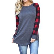 Women Round Neck Long Sleeve Splicing Plaid Top