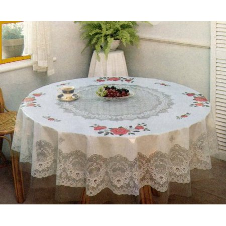Tablecloth Floral Vinyl Printed 70 Inches Round