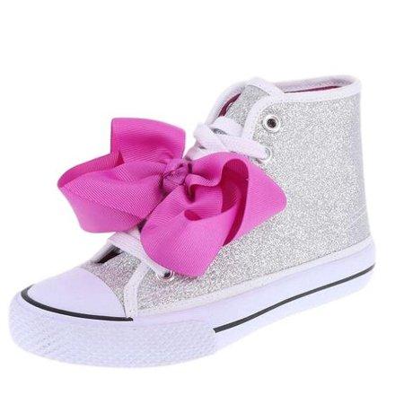 JoJo Siwa Bow Sneaker High Top Silver Pink Glitter Shoe for Girls Shoe Size - Glitter Bow Shoes