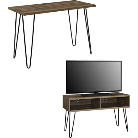 Mainstays Retro Desk with Mainstays Retro TV Stand for TVs up to 42