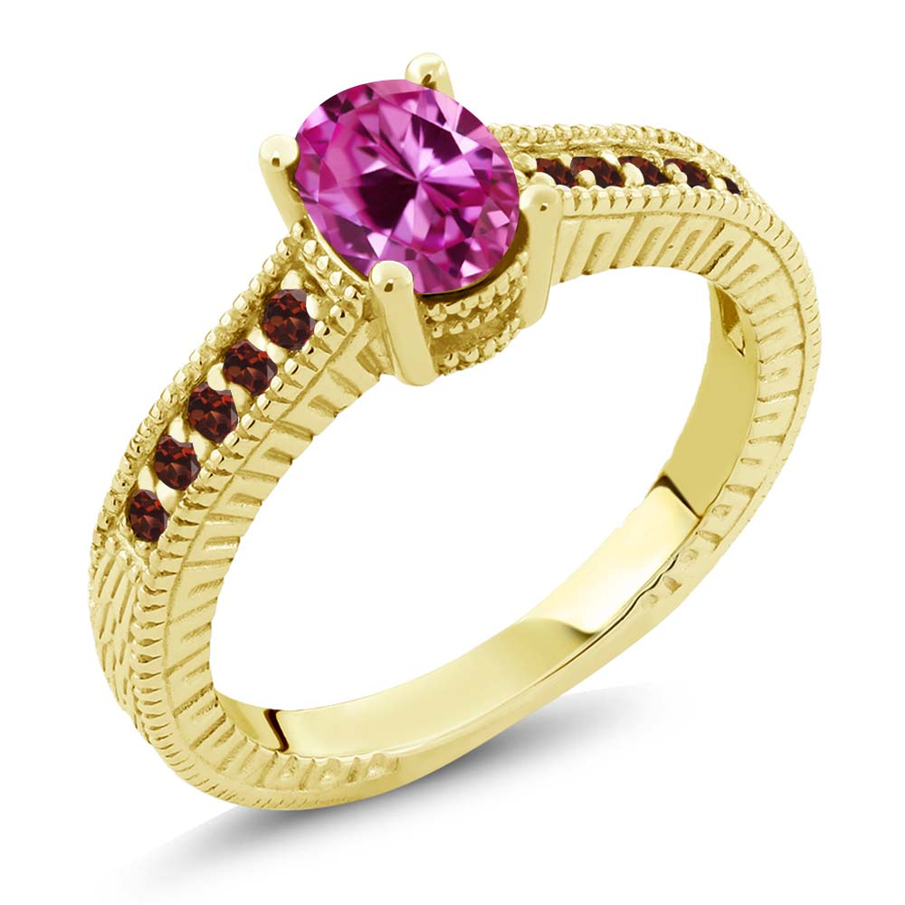 1.40 Ct Oval Pink Created Sapphire Red Garnet 18K Yellow Gold Engagement Ring by