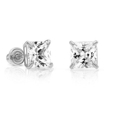 e2f3b4c9c Art and Molly Jewelry - 14k White Gold Cubic Zirconia Princess Cut Stud  Earrings with Screw Backs - Walmart.com