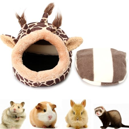 Cute Giraffe Shape Winter Pet Bed House Puppy Warm Cave Sleeping Bag Plush Mat Pad for Hamster Squirrel Hedgehog Rabbit Small Dogs Cats Animals 7.5x6.7x5