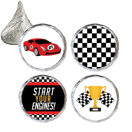 Race Car Birthday Party Stickers, 324 ct - Race Car Theme Decoration Supplies, Racing Party Supplies, Checkered Flag Party Favors - 324 Count Stickers - Cars Party Theme Ideas