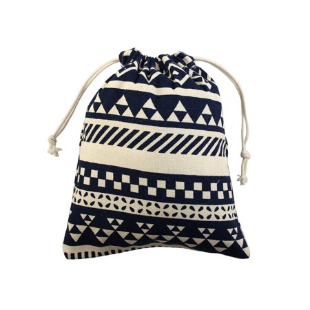 Small Drawstring Pouch (National Style Sundries Storage Candy Gift Pouch Drawstring Bag Blue)