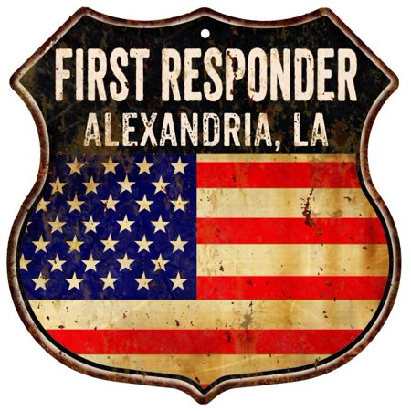 ALEXANDRIA, LA First Responder American Flag 12x12 Metal Shield Sign S123077 ()