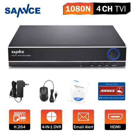 Sannce 4CH 1080N 720P Security Standalone DVR H.264 Realtime HDMI Output Easy Remote View for Home Security Surveillance Camera System(Hard Drive Capacity is optional:0-NO HDD,1-1TB HDD)