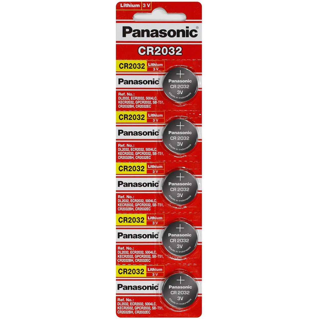 Panasonic CR2032 3V Lithium Coin Battery - 5 Pack + FREE SHIPPING!