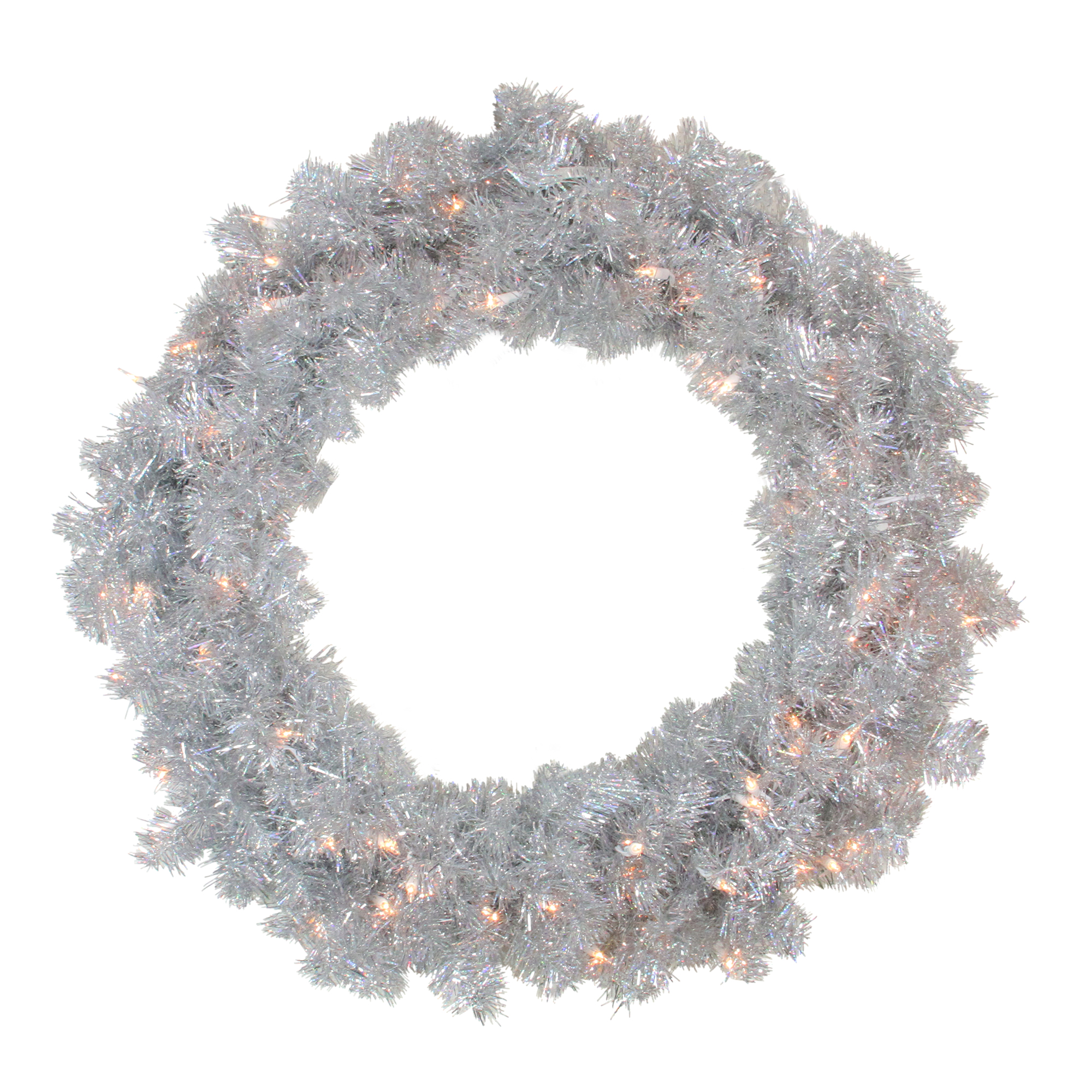 "Vickerman 30"" Prelit Sparkling Silver Tinsel Artificial Christmas Wreath - Clear Lights"