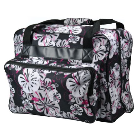 Tangerine Floral Tote (Janome Sewing Machine Tote Bag in Black Floral with Floral Pattern)