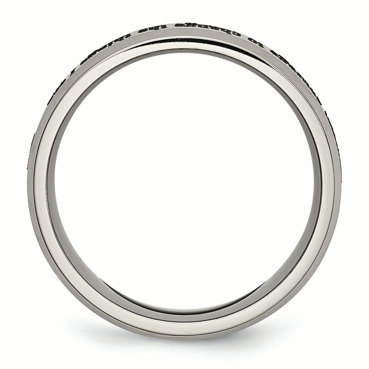 Titanium Beveled Edge 8mm Laser Design Brushed /& Polished Band