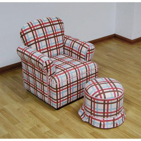 4D Concepts Plaid Arm Chair with Ottoman - Walmart.com