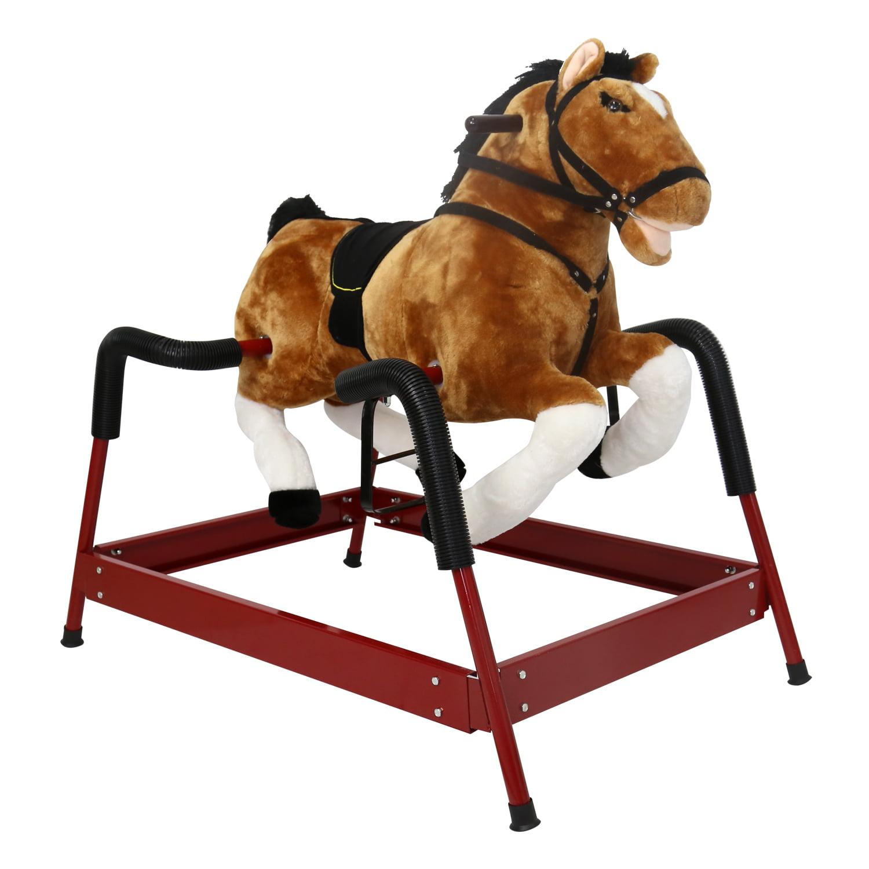 Kinbor Rocking Horse Toy Children Vintage Bouncing Plush Rocker Riding Horse w Sound Boys Girls by